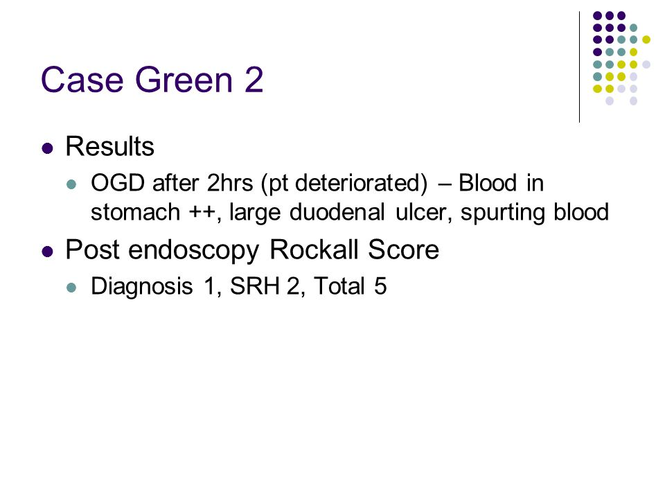 Case Green 2 Results Post endoscopy Rockall Score