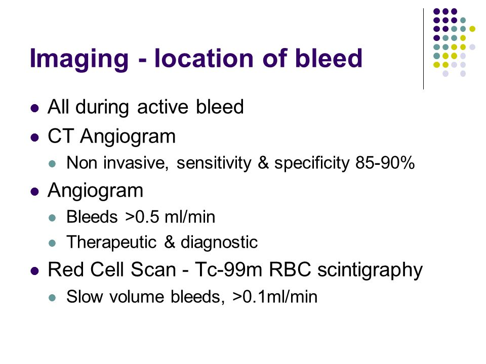 Imaging - location of bleed