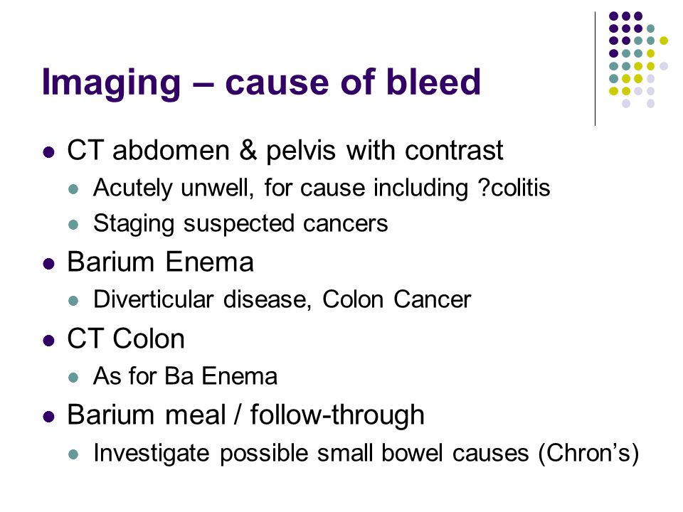 Imaging – cause of bleed