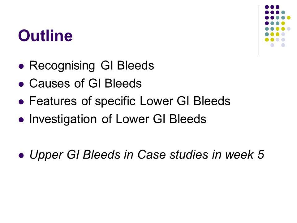 Outline Recognising GI Bleeds Causes of GI Bleeds