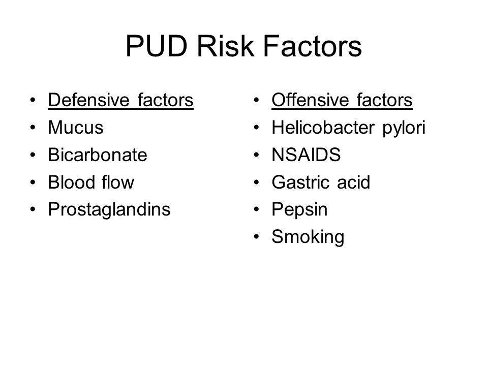 PUD Risk Factors Defensive factors Mucus Bicarbonate Blood flow
