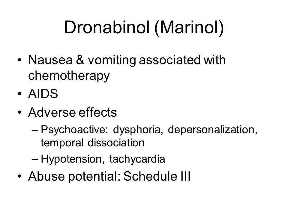 Dronabinol (Marinol) Nausea & vomiting associated with chemotherapy