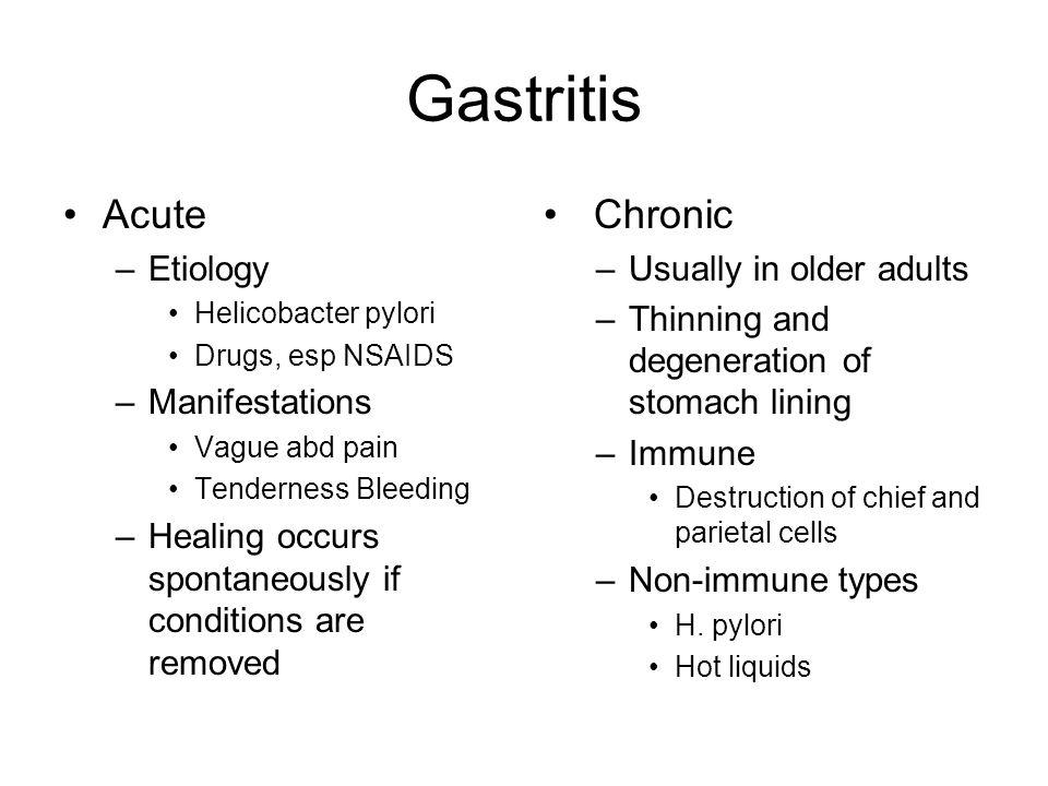 Gastritis Acute Chronic Etiology Manifestations