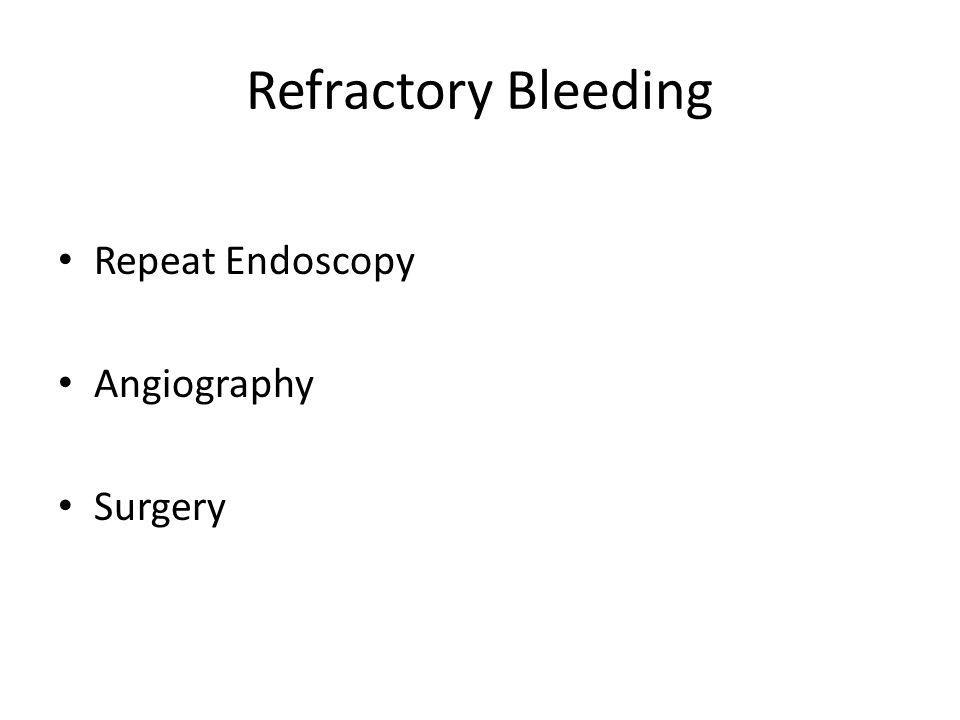 Refractory Bleeding Repeat Endoscopy Angiography Surgery