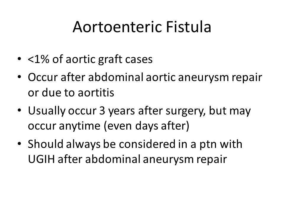 Aortoenteric Fistula <1% of aortic graft cases