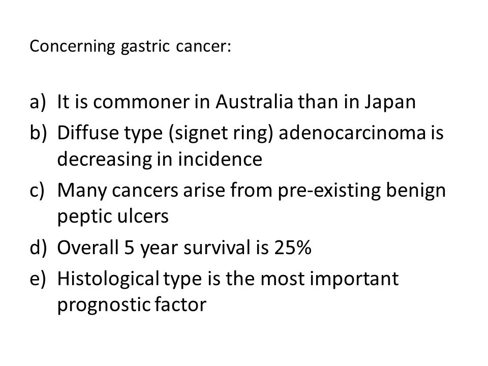 Concerning gastric cancer: