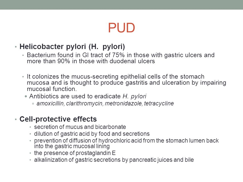 PUD Helicobacter pylori (H. pylori) Cell-protective effects