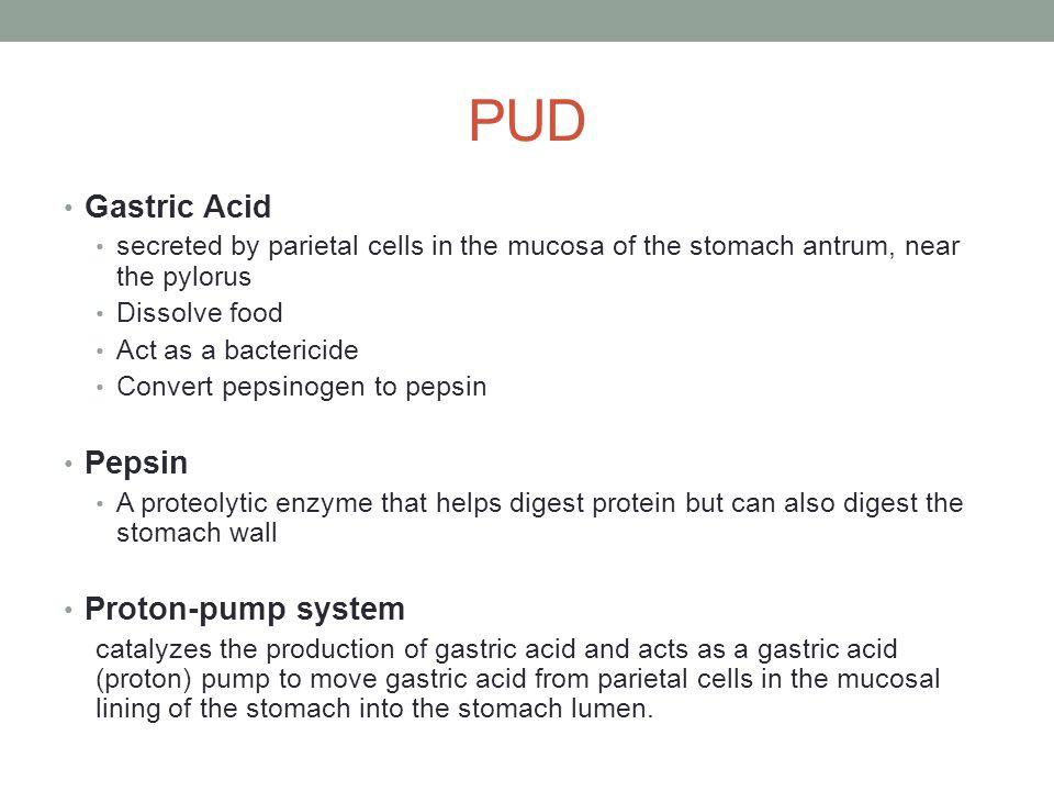 PUD Gastric Acid Pepsin Proton-pump system