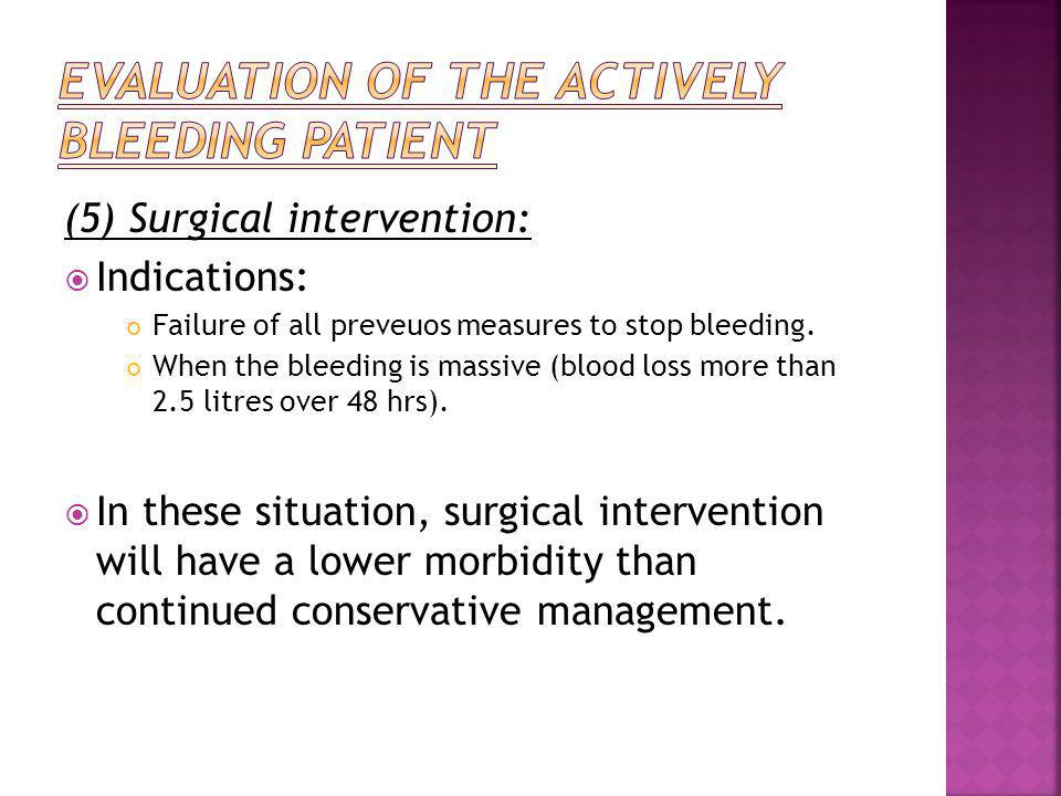 Evaluation of the actively bleeding patient