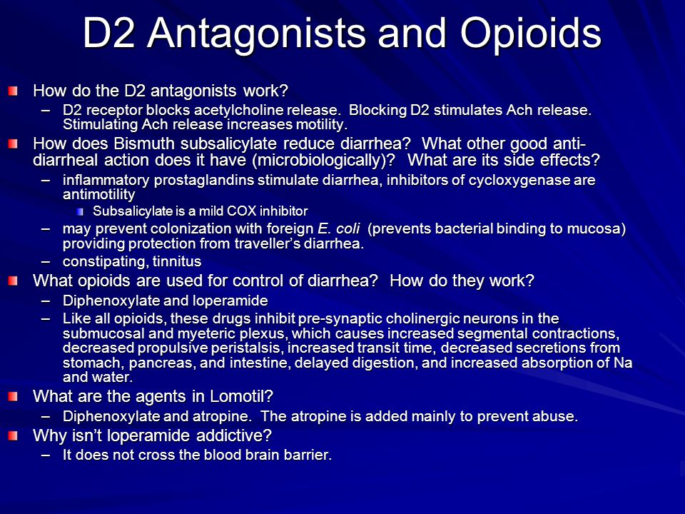 D2 Antagonists and Opioids