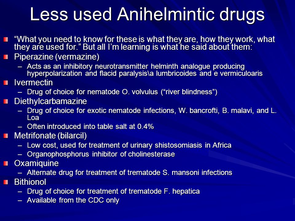 Less used Anihelmintic drugs