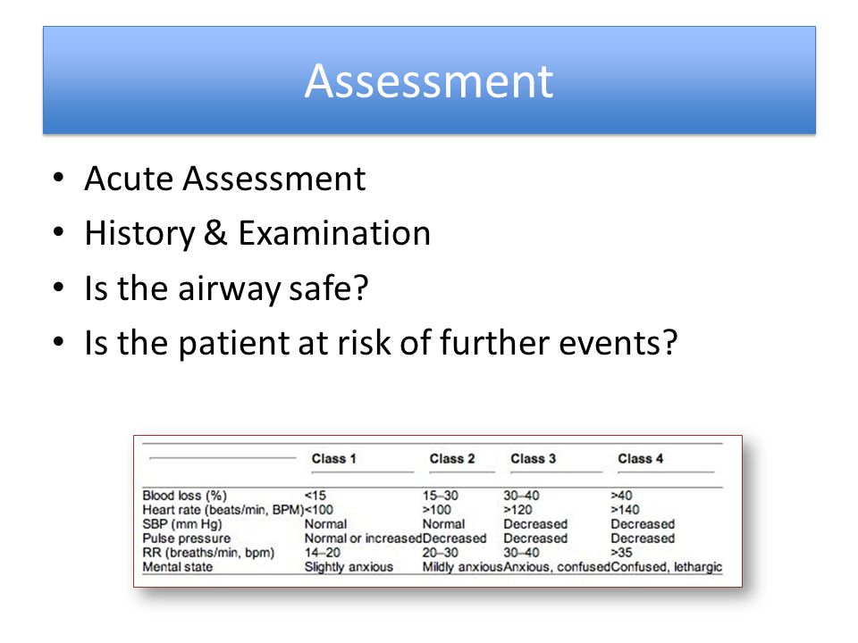 Assessment Acute Assessment History & Examination Is the airway safe
