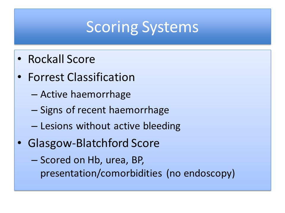 Scoring Systems Rockall Score Forrest Classification
