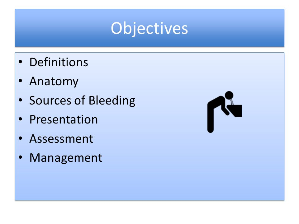 Objectives Definitions Anatomy Sources of Bleeding Presentation
