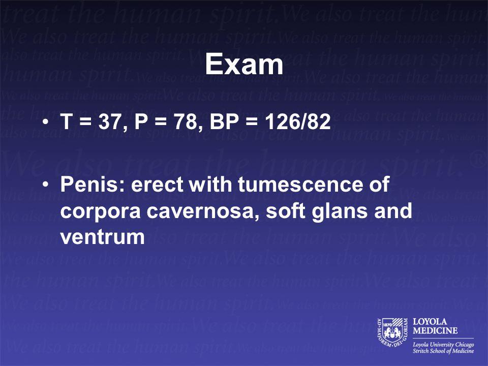 Exam T = 37, P = 78, BP = 126/82.