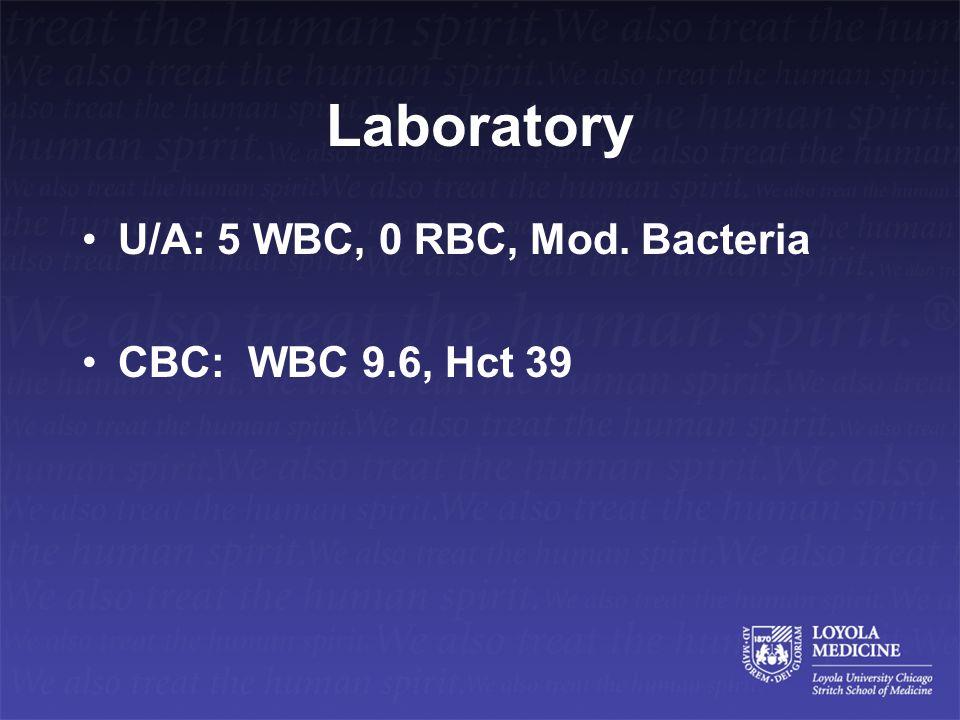 Laboratory U/A: 5 WBC, 0 RBC, Mod. Bacteria CBC: WBC 9.6, Hct 39