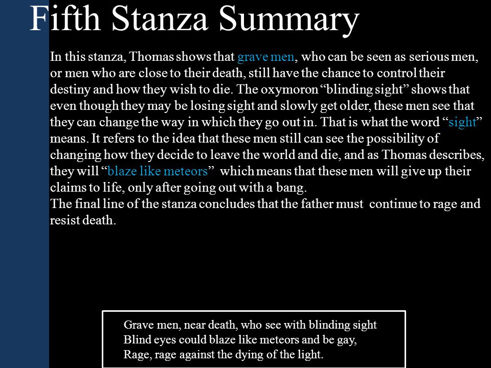 Fifth Stanza Summary