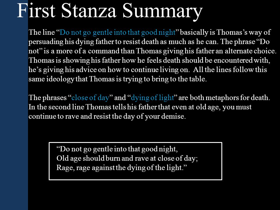 First Stanza Summary