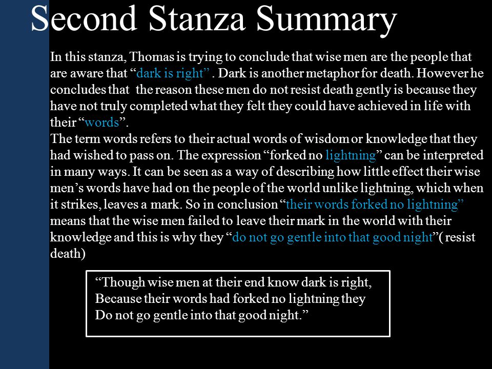 Second Stanza Summary