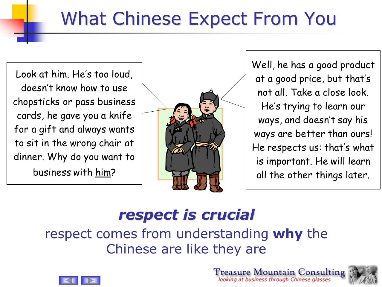 What Chinese Expect From You