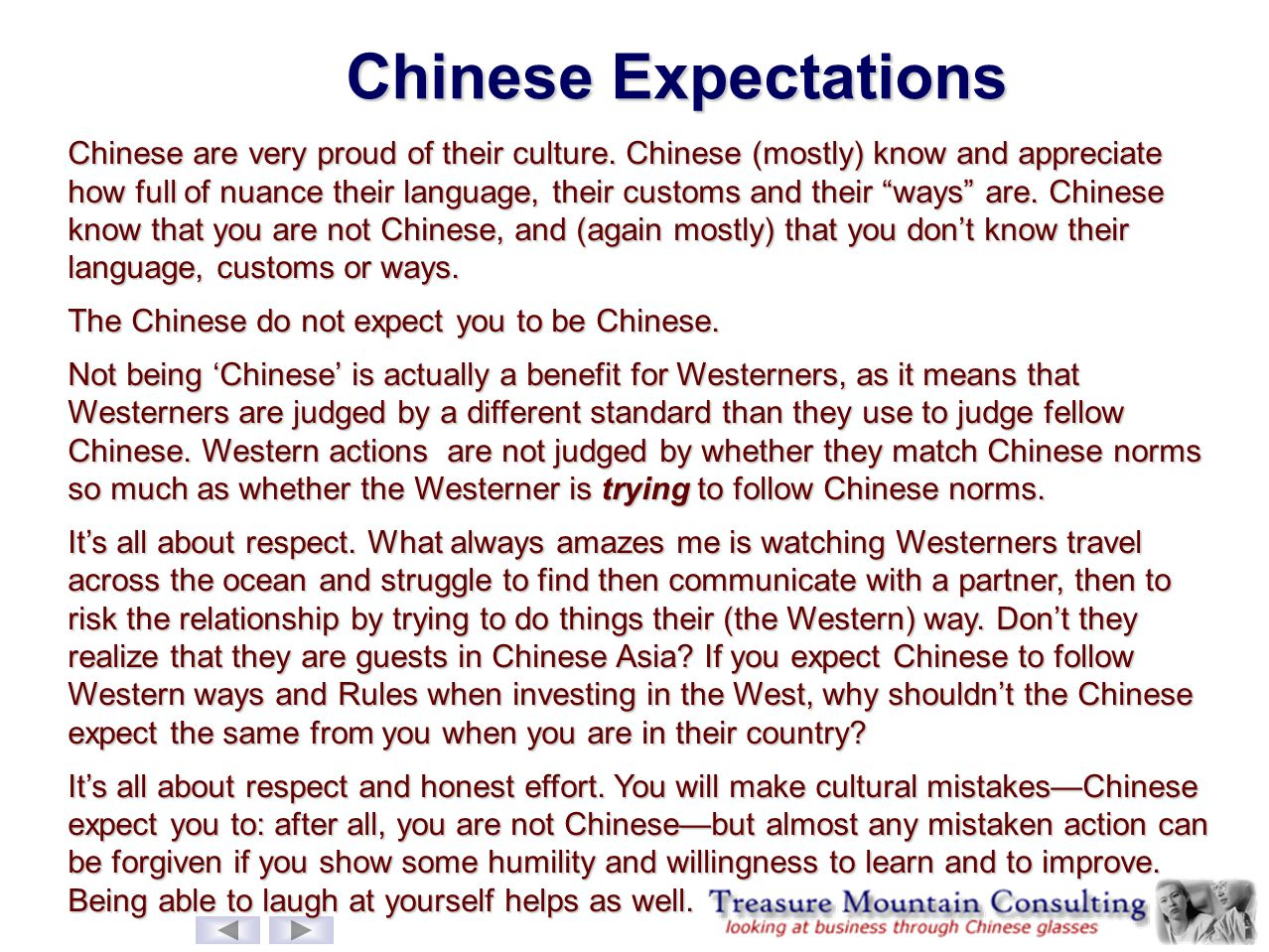 Chinese Expectations