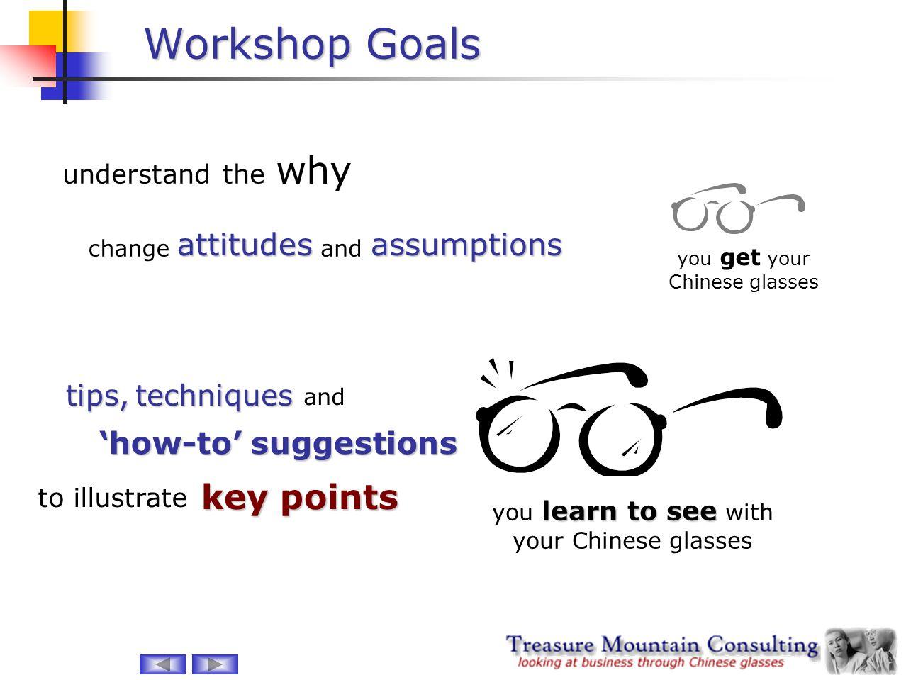Workshop Goals why key points attitudes assumptions