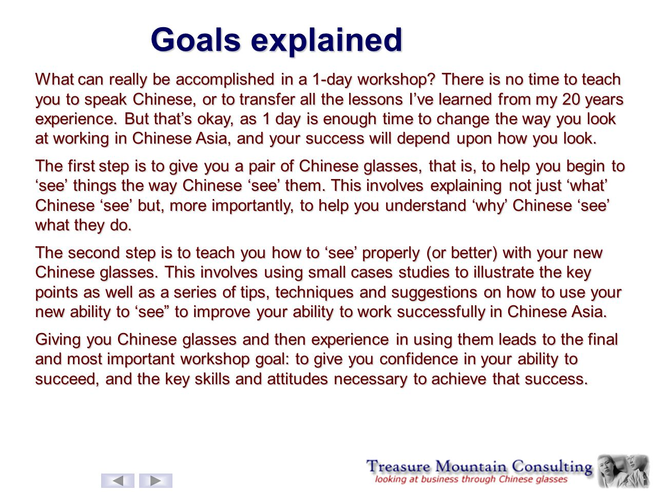 Goals explained