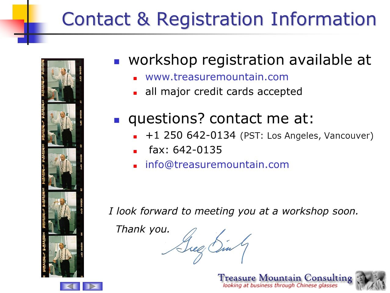 Contact & Registration Information