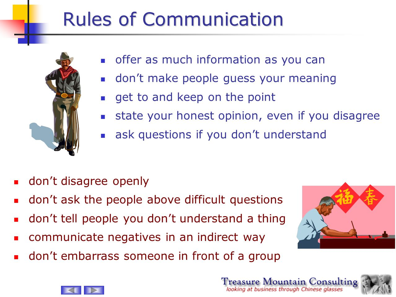 Rules of Communication