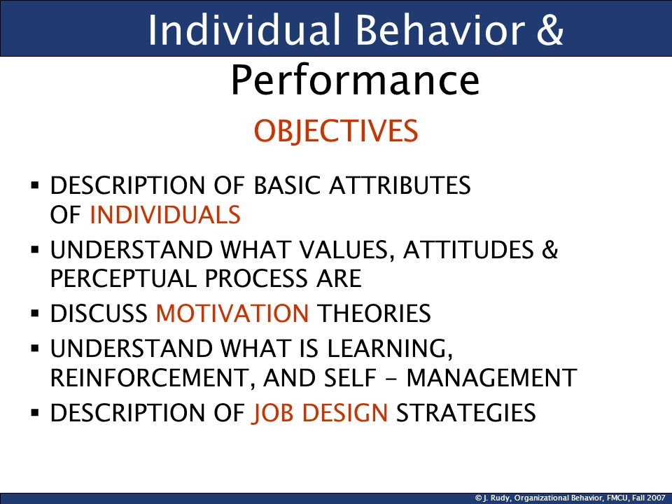 individual behavior essay Individual behavior differs from person to person and most differences are based on the background of the individualsome elements that can affect ones background to influence their individual behavior can include religion, age, occupation, values and attitude differences, gender, and even ethnicity.