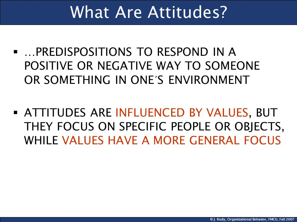 What Are Attitudes …PREDISPOSITIONS TO RESPOND IN A POSITIVE OR NEGATIVE WAY TO SOMEONE OR SOMETHING IN ONE´S ENVIRONMENT.