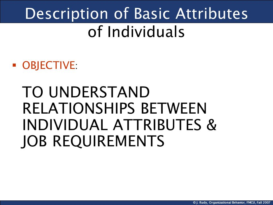 Description of Basic Attributes of Individuals