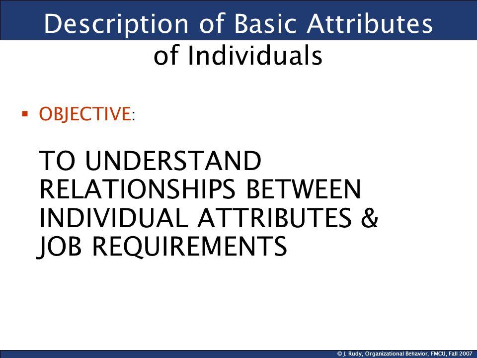Description of Basic Attributes of Individuals