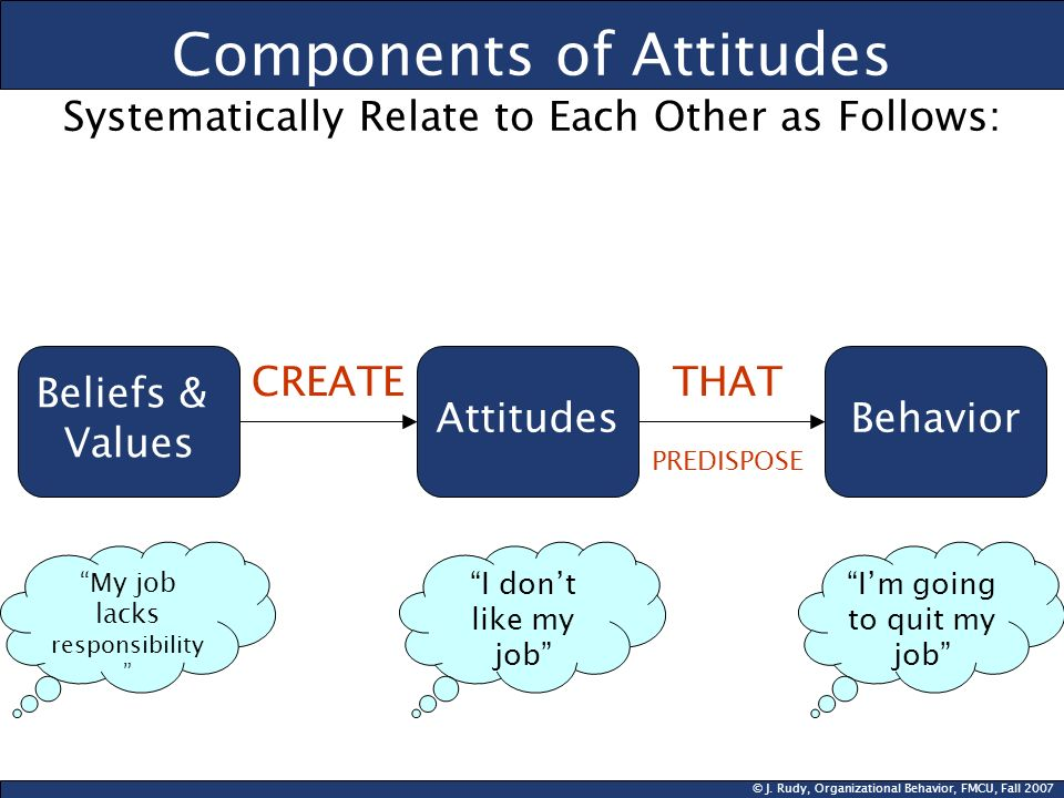 Components of Attitudes Systematically Relate to Each Other as Follows: