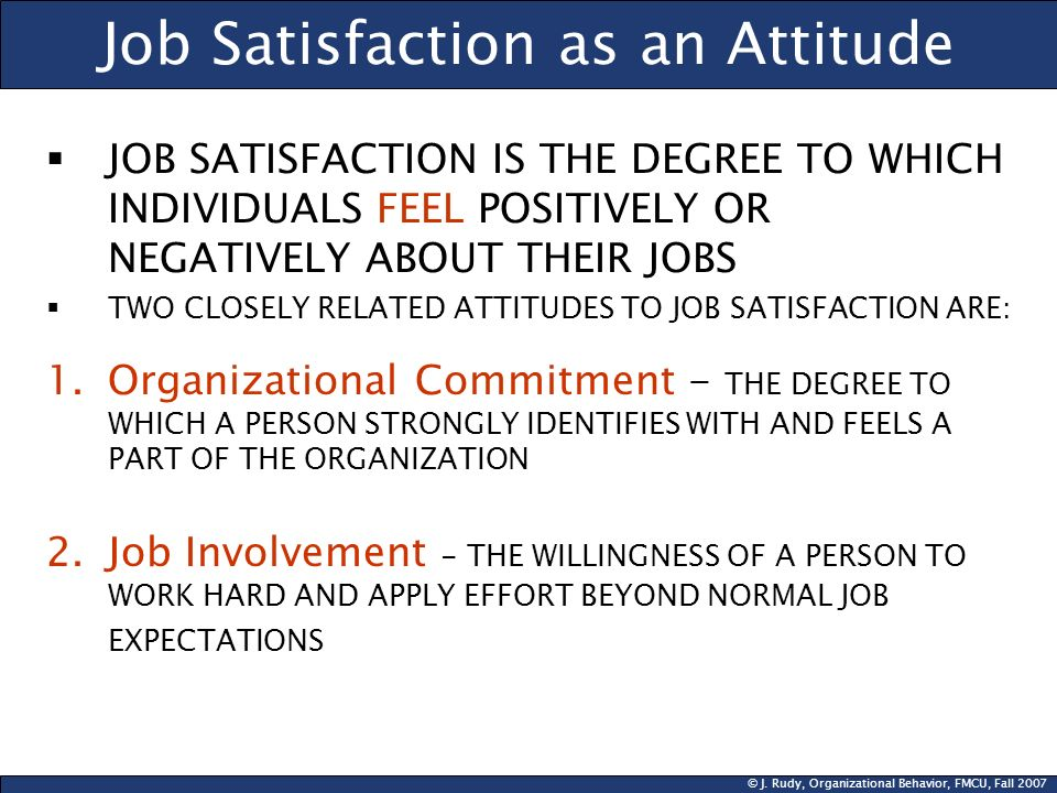 Job Satisfaction as an Attitude