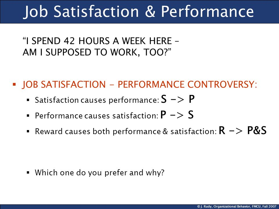 Job Satisfaction & Performance