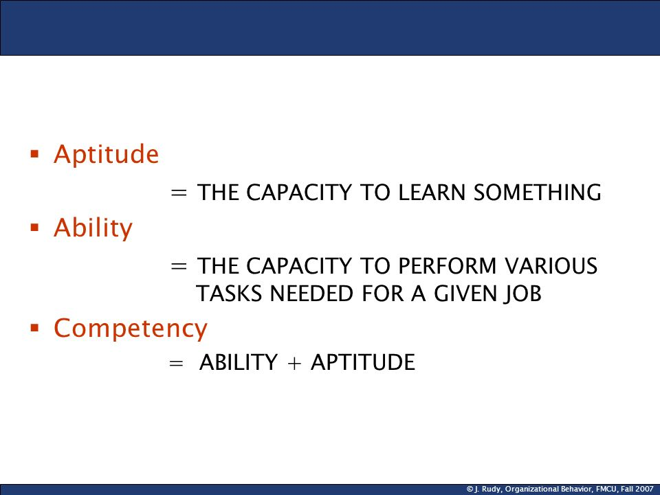 = THE CAPACITY TO LEARN SOMETHING Ability