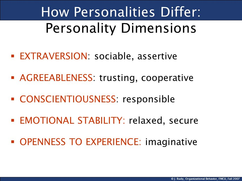 How Personalities Differ: Personality Dimensions