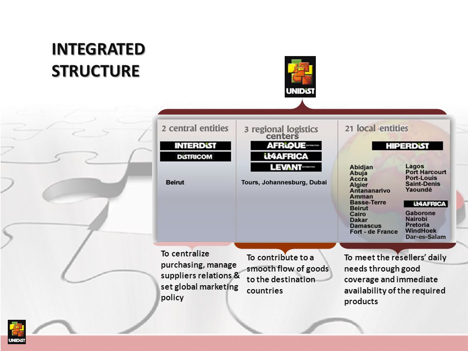 INTEGRATED STRUCTURE To centralize purchasing, manage suppliers relations & set global marketing policy.