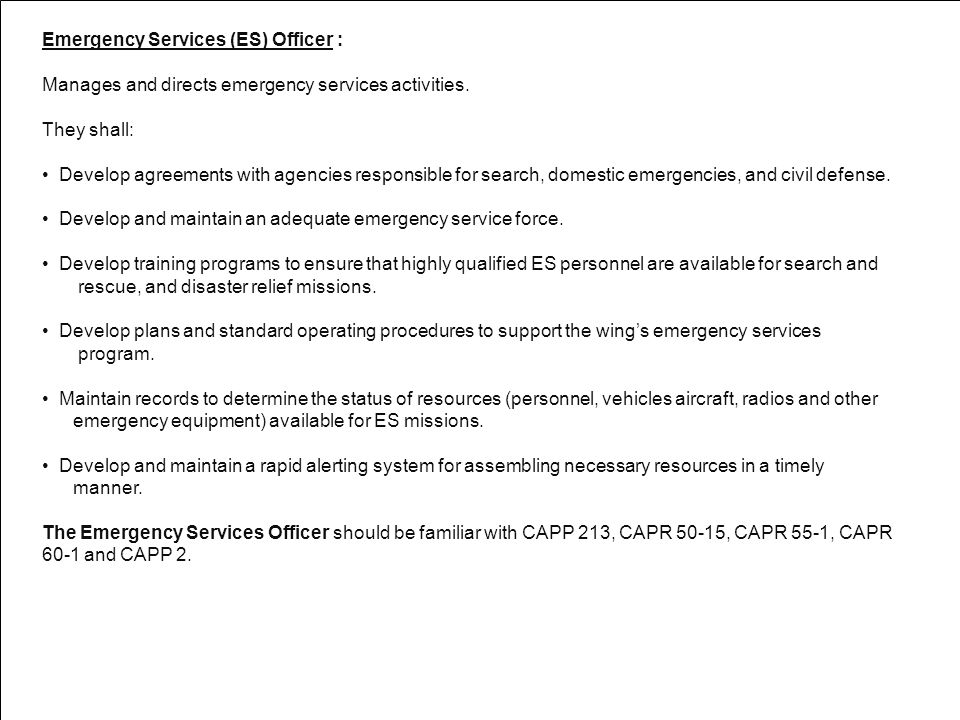 Emergency Services (ES) Officer :