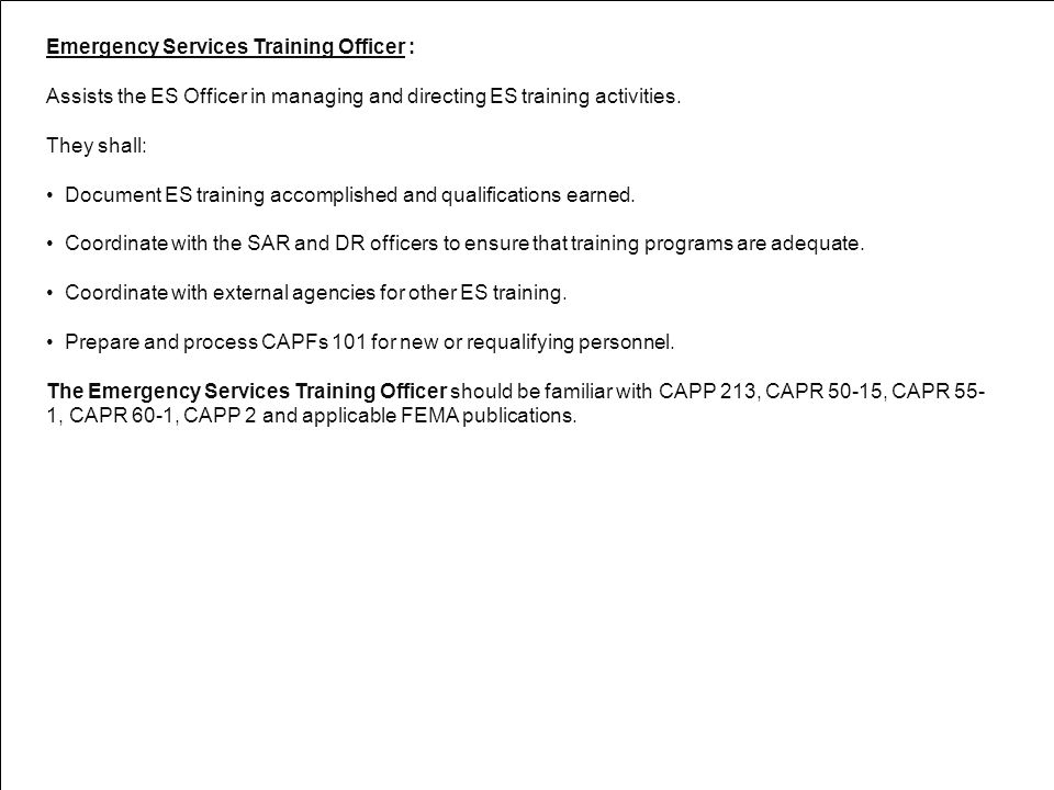 Emergency Services Training Officer :