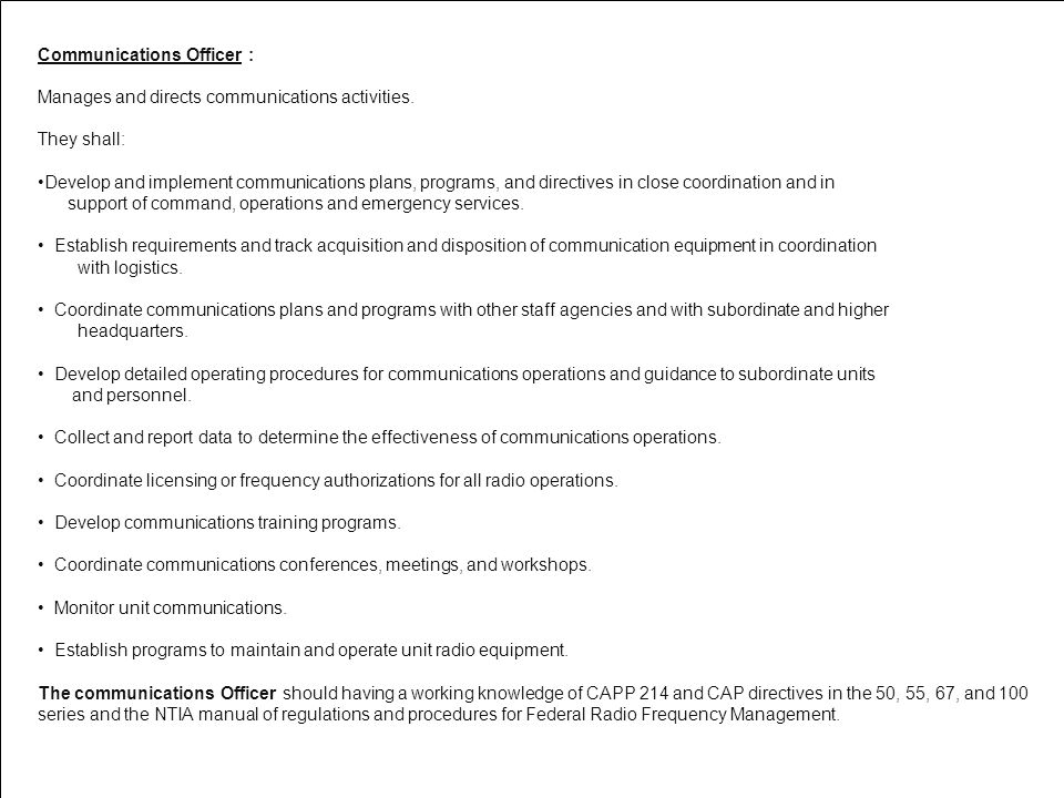 Communications Officer :