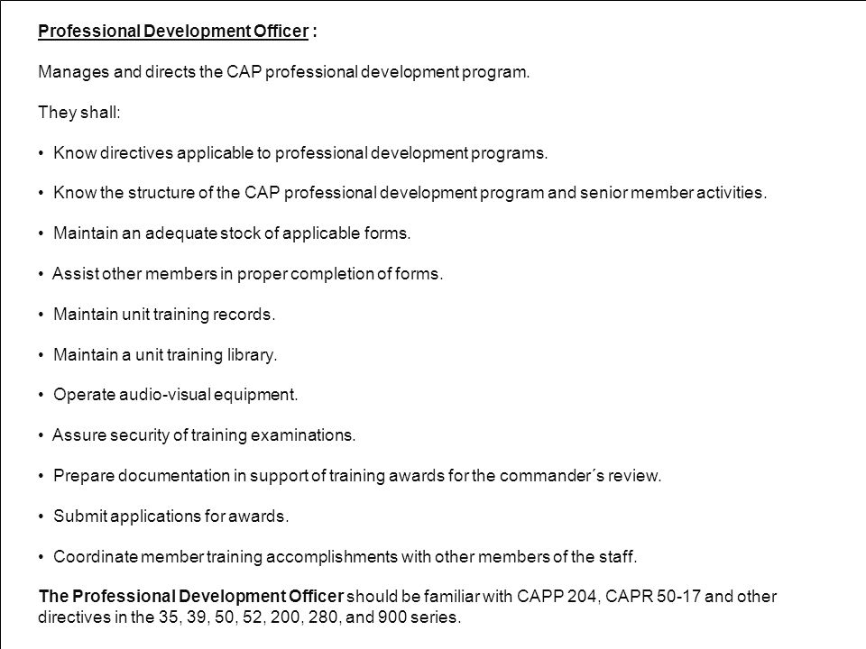 Professional Development Officer :