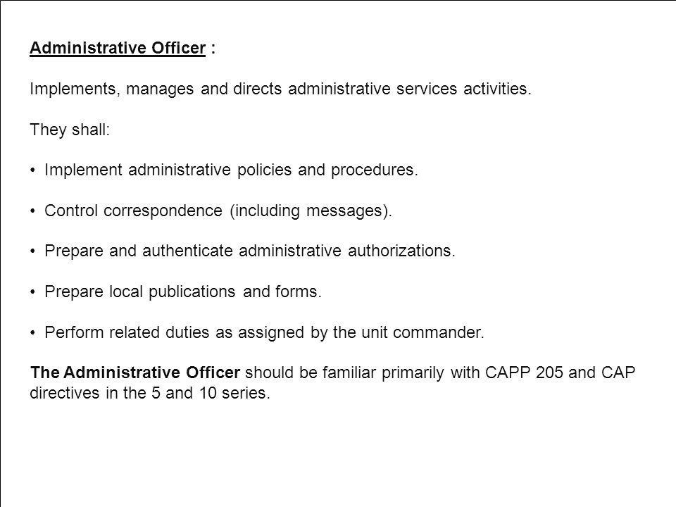 Administrative Officer :