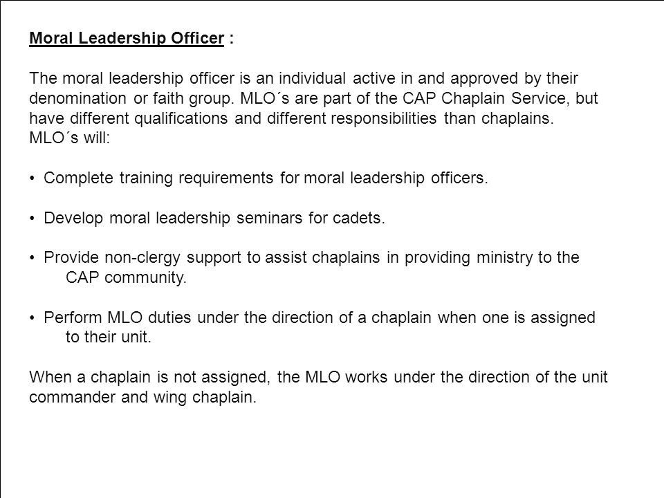 Moral Leadership Officer :