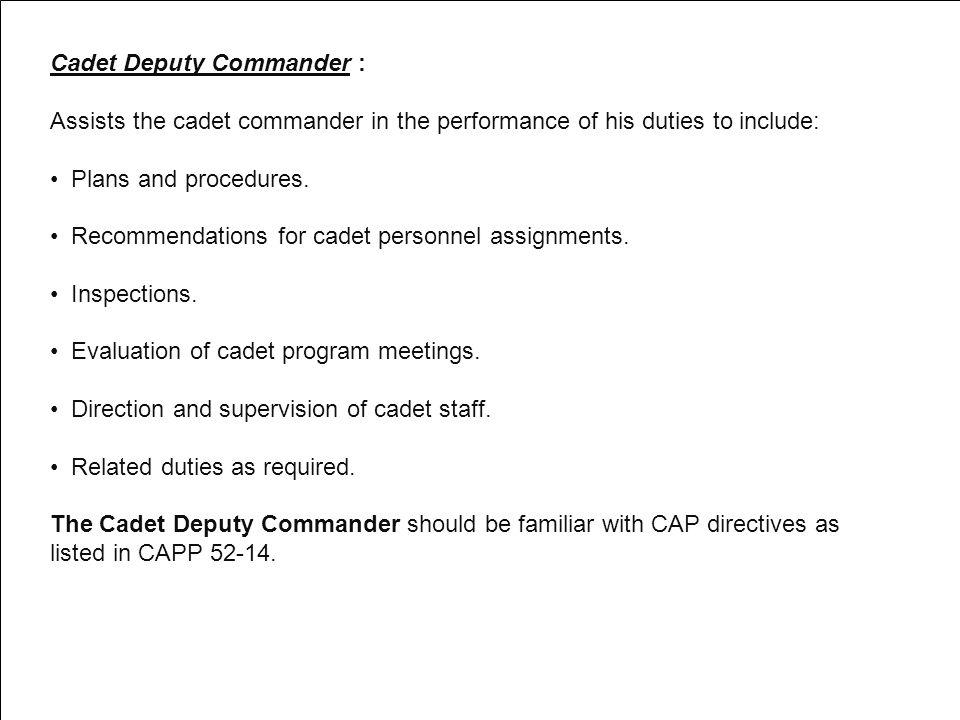 Cadet Deputy Commander :