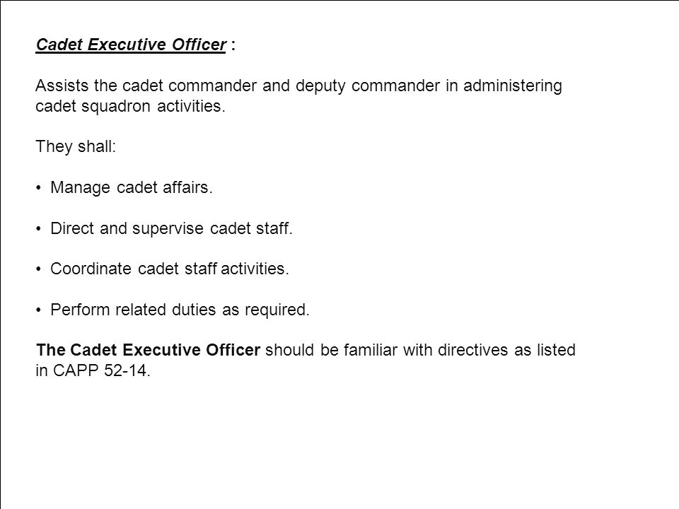 Cadet Executive Officer :