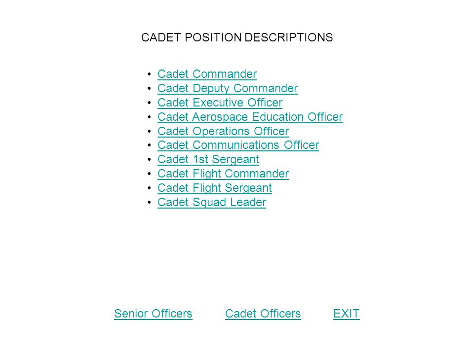 CADET POSITION DESCRIPTIONS