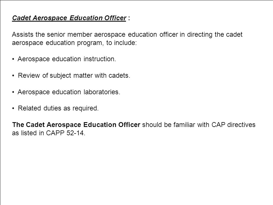 Cadet Aerospace Education Officer :