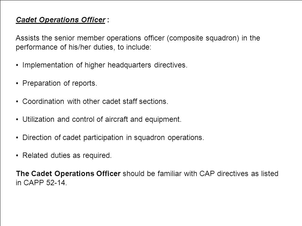 Cadet Operations Officer :